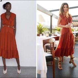 Zara Belted Ruffle Dress Size Large